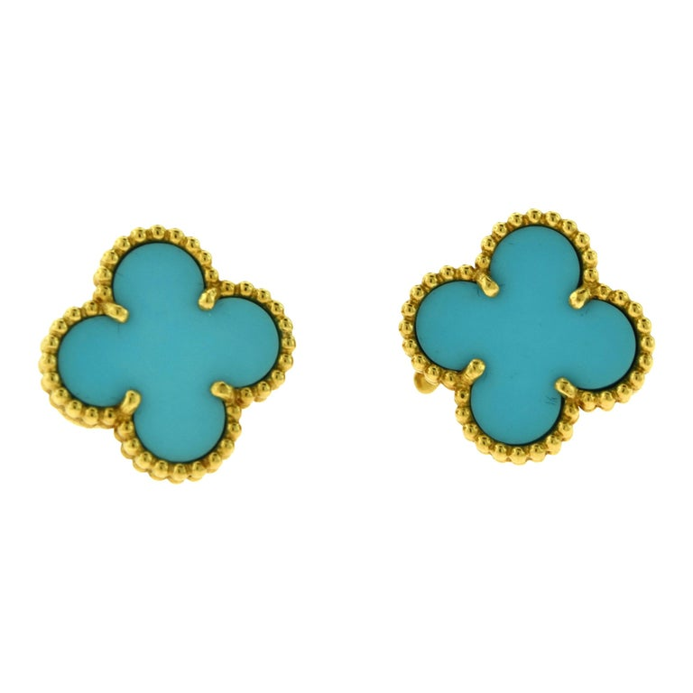 Van Cleef & Arpels Vintage Alhambra Turquoise Yellow Gold Earrings, Rare For Sale