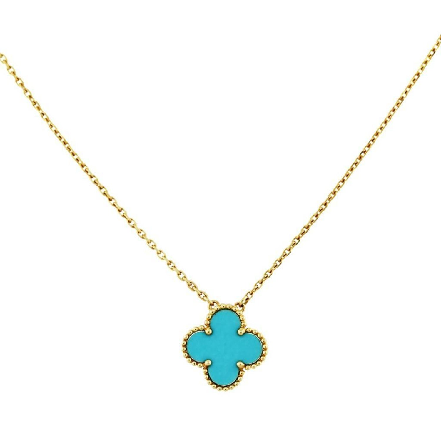 6cab3c942ad3 Van Cleef and Arpels Vintage Alhambra Turquoise Yellow Gold Necklace at  1stdibs