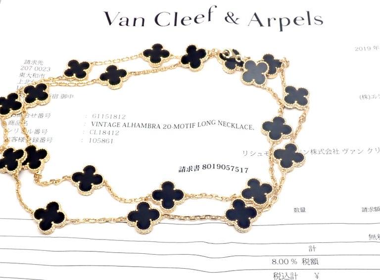 Van Cleef & Arpels Vintage Alhambra Twenty Motif Black Onyx Gold Necklace In Excellent Condition In Holland, PA