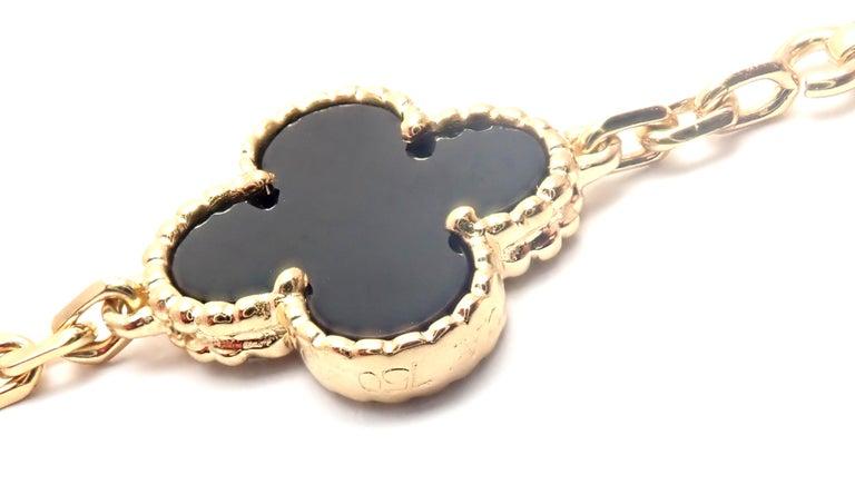 Van Cleef & Arpels Vintage Alhambra Twenty Motif Black Onyx Gold Necklace 1