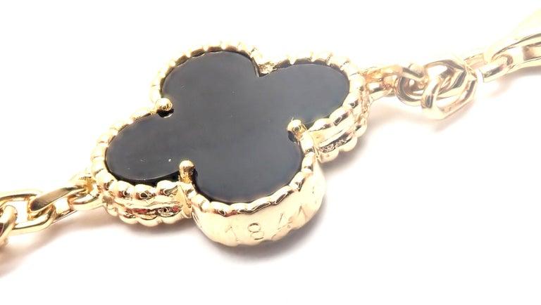 Van Cleef & Arpels Vintage Alhambra Twenty Motif Black Onyx Gold Necklace 2