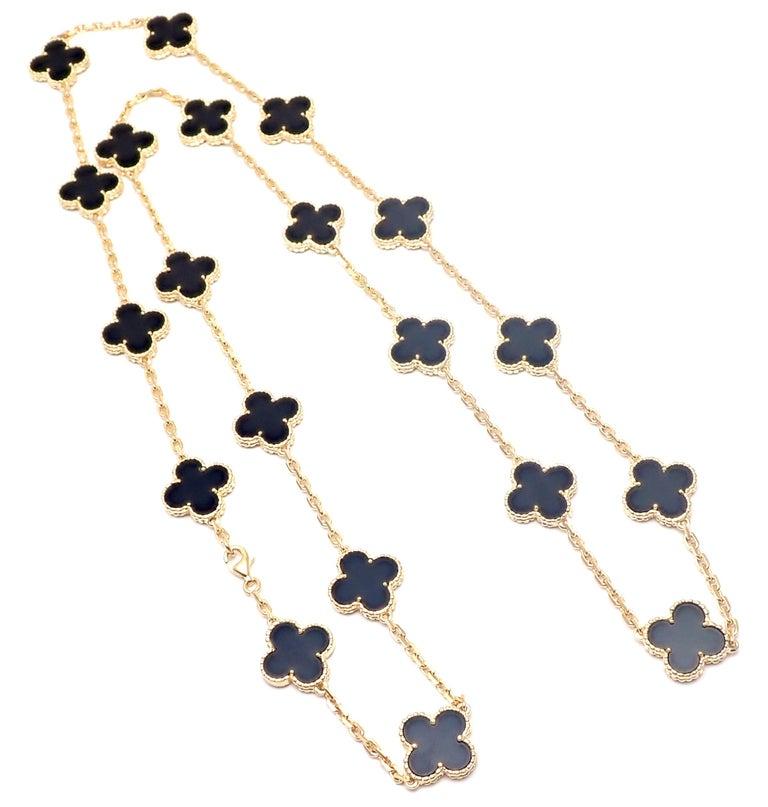 Van Cleef & Arpels Vintage Alhambra Twenty Motif Black Onyx Gold Necklace 3