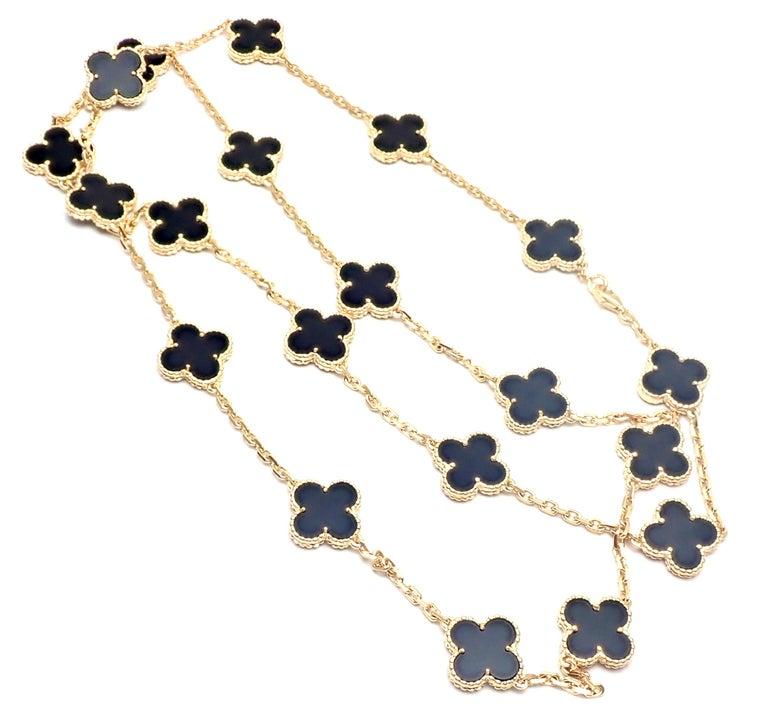 Van Cleef & Arpels Vintage Alhambra Twenty Motif Black Onyx Gold Necklace 4