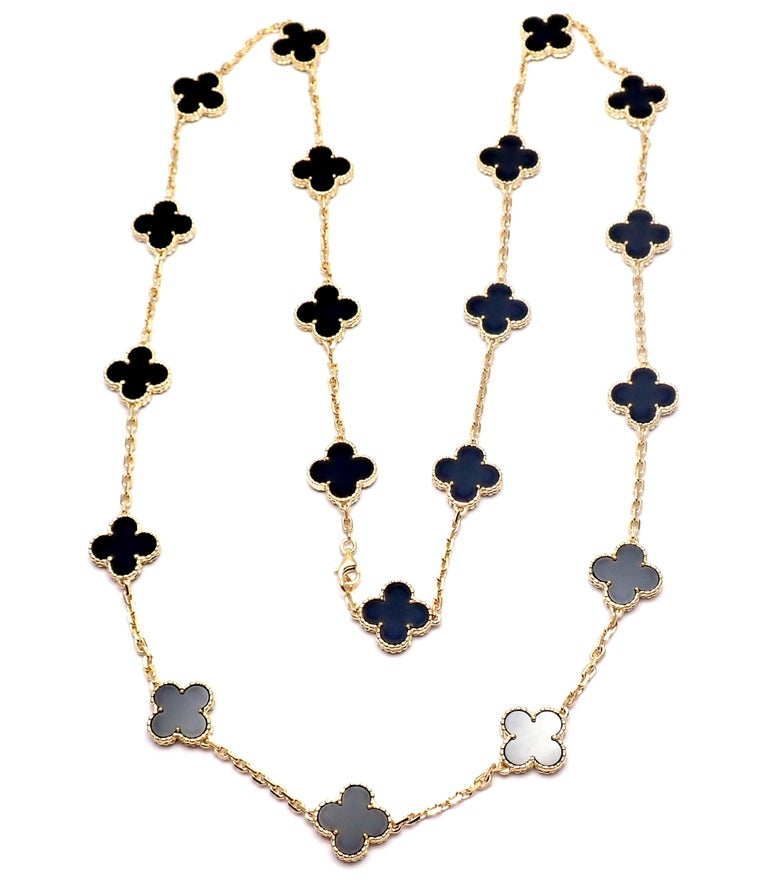 Van Cleef & Arpels Vintage Alhambra Twenty Motif Black Onyx Gold Necklace 5