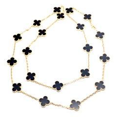 Van Cleef & Arpels Vintage Alhambra Twenty Motif Black Onyx Gold Necklace