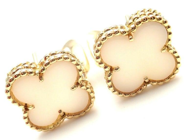 Uncut Van Cleef & Arpels Vintage Alhambra White Coral Yellow Gold Earrings For Sale