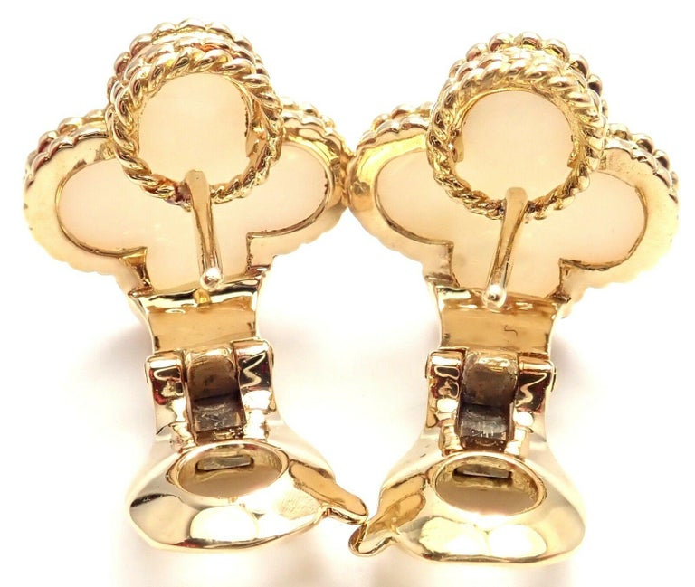 Van Cleef & Arpels Vintage Alhambra White Coral Yellow Gold Earrings In Excellent Condition For Sale In Holland, PA