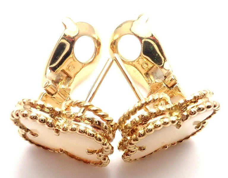 Van Cleef & Arpels Vintage Alhambra White Coral Yellow Gold Earrings For Sale 4