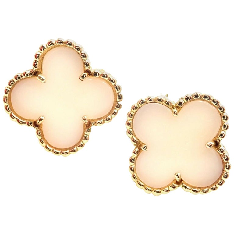 Van Cleef & Arpels Vintage Alhambra White Coral Yellow Gold Earrings For Sale