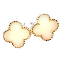 Van Cleef & Arpels Vintage Alhambra White Coral Yellow Gold Earrings