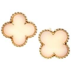 Van Cleef & Arpels Vintage Alhambra White Coral Yellow Gold Earrings