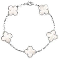 Van Cleef & Arpels Vintage Alhambra White Gold 5 Motifs Pearl Crystal Bracelet