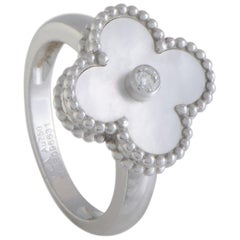 Van Cleef & Arpels Vintage Alhambra White Gold Diamond and Mother of Pearl Ring