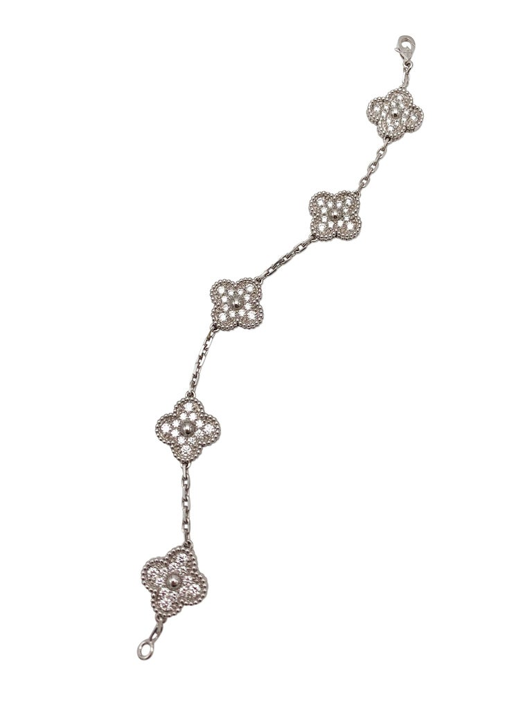 Van Cleef & Arpels 'Vintage Alhambra' White Gold Diamond Bracelet In Excellent Condition In New York, NY