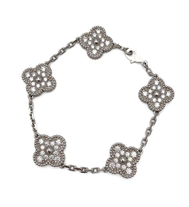 Women's or Men's Van Cleef & Arpels 'Vintage Alhambra' White Gold Diamond Bracelet