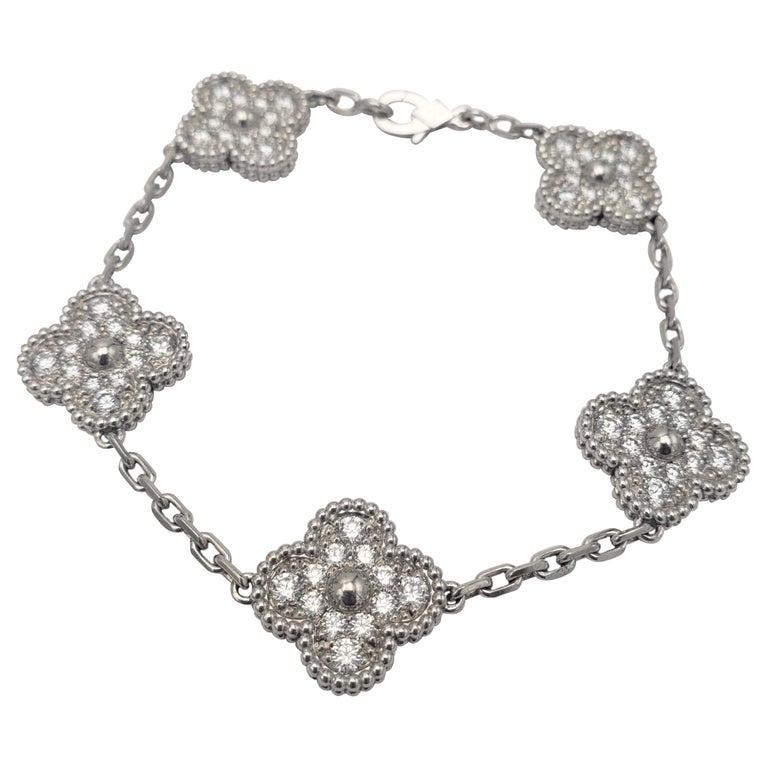 Van Cleef & Arpels 'Vintage Alhambra' White Gold Diamond Bracelet