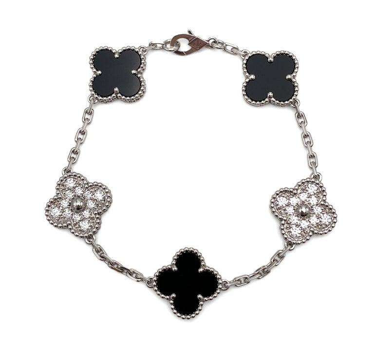 Women's or Men's Van Cleef & Arpels 'Vintage Alhambra' White Gold Diamond Onyx Bracelet For Sale
