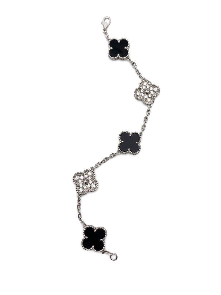 Van Cleef & Arpels 'Vintage Alhambra' White Gold Diamond Onyx Bracelet For Sale 1