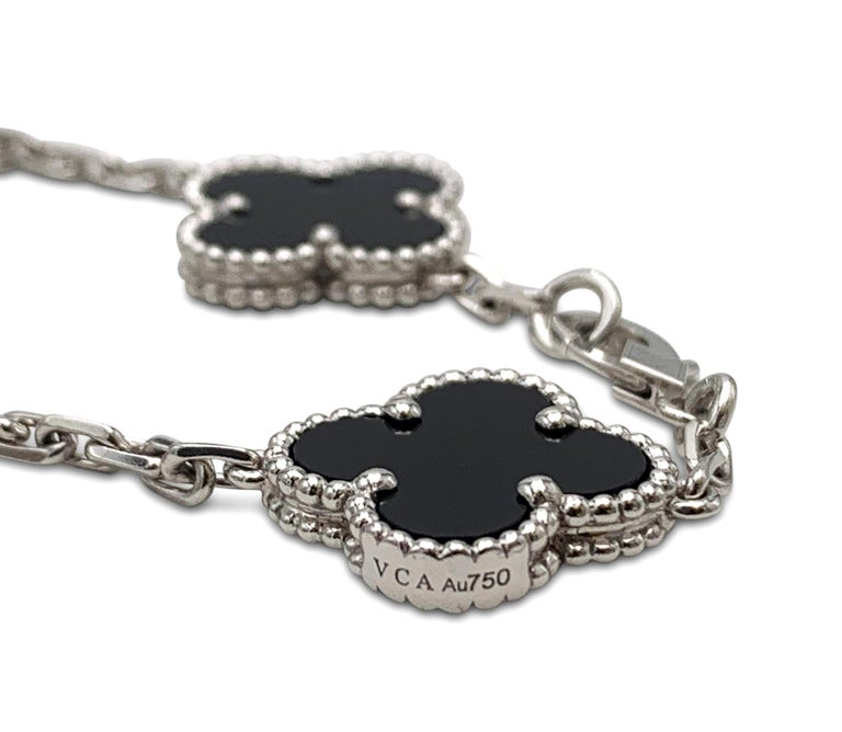 Van Cleef & Arpels 'Vintage Alhambra' White Gold Diamond Onyx Bracelet In Excellent Condition For Sale In New York, NY