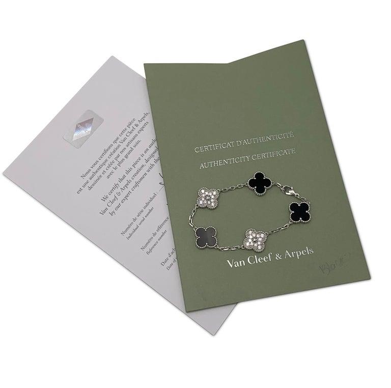 Van Cleef & Arpels 'Vintage Alhambra' White Gold Diamond Onyx Bracelet For Sale 2