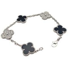 Van Cleef & Arpels 'Vintage Alhambra' White Gold Diamond Onyx Bracelet