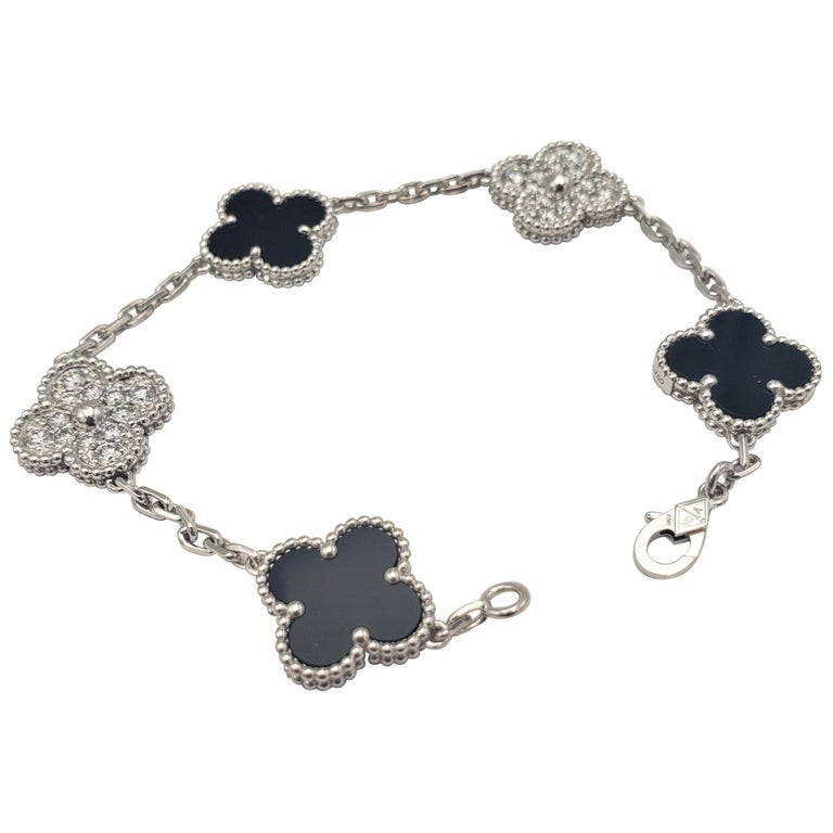 Van Cleef & Arpels 'Vintage Alhambra' White Gold Diamond Onyx Bracelet For Sale