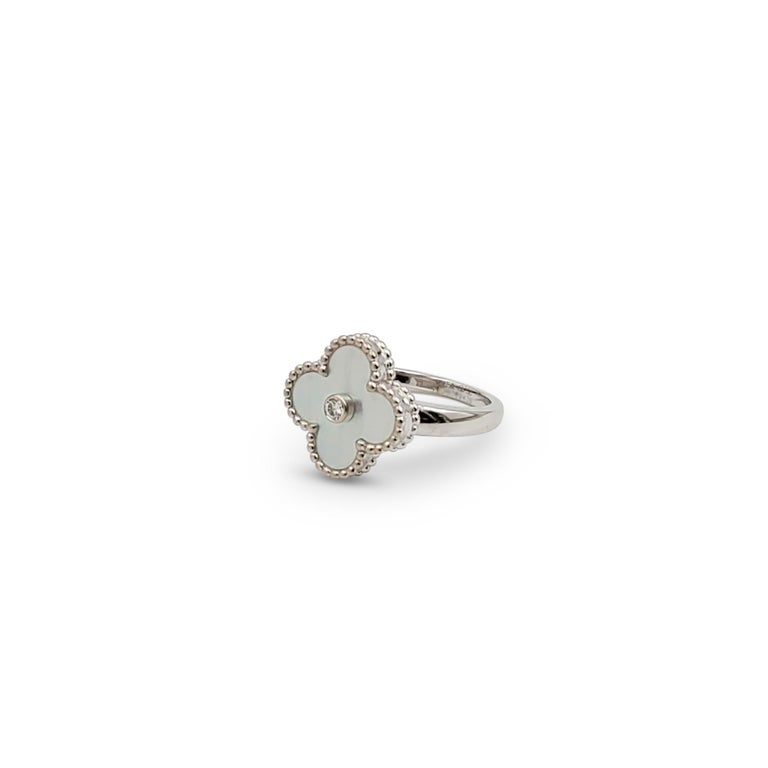 Round Cut Van Cleef & Arpels 'Vintage Alhambra' White Gold Mother of Pearl Diamond Ring For Sale