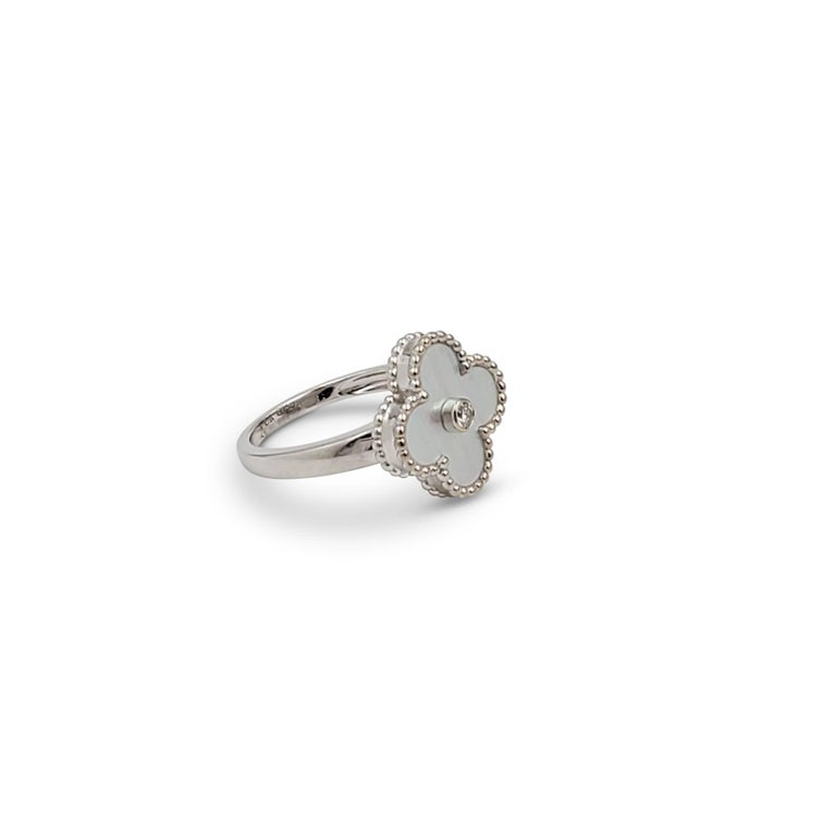 Van Cleef & Arpels 'Vintage Alhambra' White Gold Mother of Pearl Diamond Ring In Excellent Condition For Sale In New York, NY