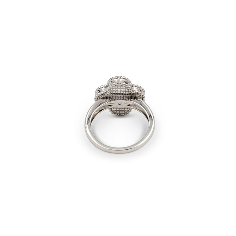 Women's Van Cleef & Arpels 'Vintage Alhambra' White Gold Mother of Pearl Diamond Ring For Sale