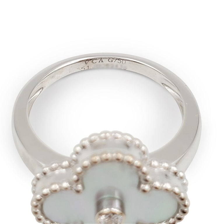 Van Cleef & Arpels 'Vintage Alhambra' White Gold Mother of Pearl Diamond Ring For Sale 1