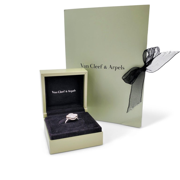 Van Cleef & Arpels 'Vintage Alhambra' White Gold Mother of Pearl Diamond Ring For Sale 2
