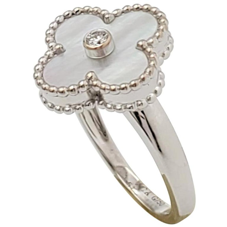 Van Cleef & Arpels 'Vintage Alhambra' White Gold Mother of Pearl Diamond Ring For Sale