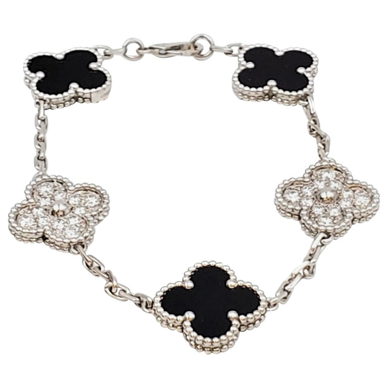 Van Cleef & Arpels 'Vintage Alhambra' White Gold Onyx and Diamond Bracelet For Sale