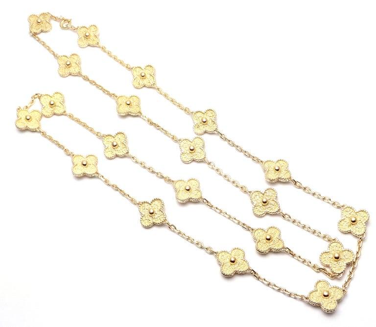 Women's or Men's Van Cleef & Arpels Vintage Alhambra Yellow Gold 20 Motif Necklace For Sale