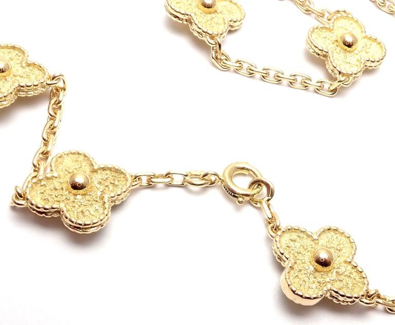 Van Cleef & Arpels Vintage Alhambra Yellow Gold 20 Motif Necklace For Sale 5