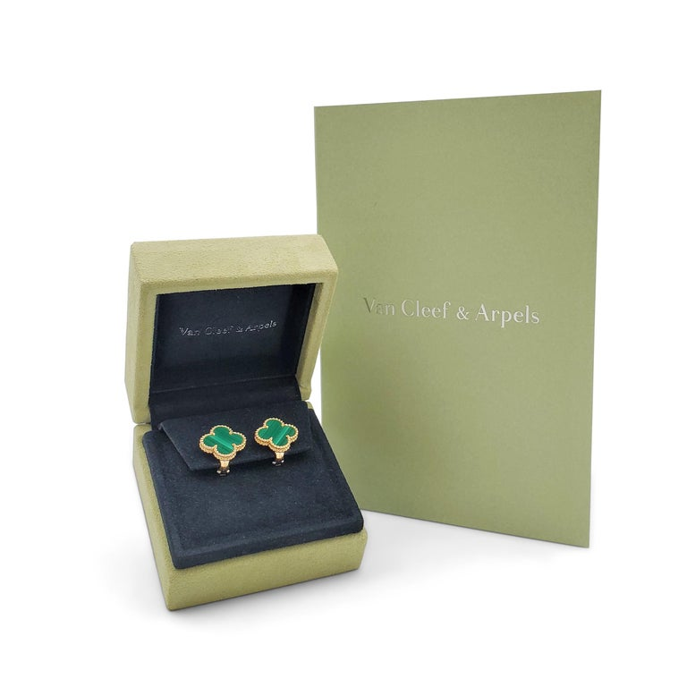 Van Cleef & Arpels Vintage Alhambra Yellow Gold and Malachite Earrings 1