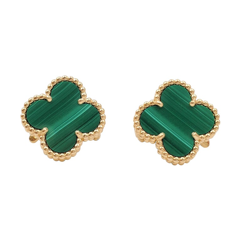 Van Cleef & Arpels Vintage Alhambra Yellow Gold and Malachite Earrings