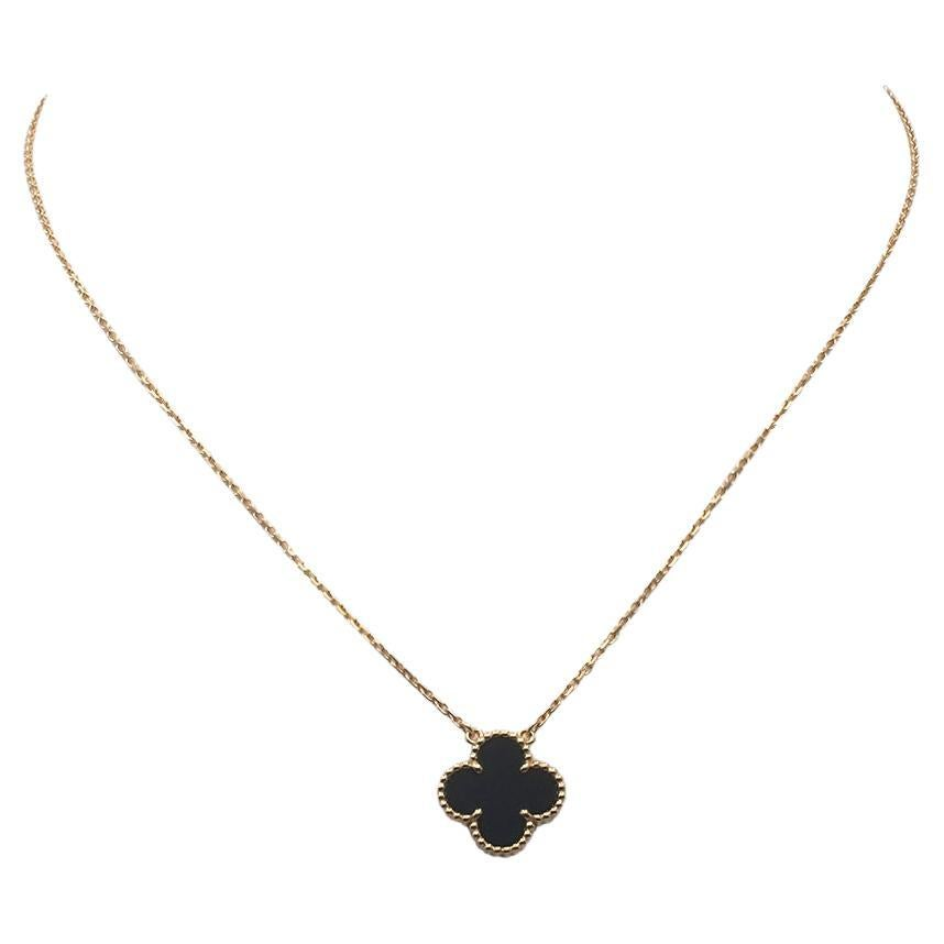 Van Cleef & Arpels Vintage Alhambra Yellow Gold and Onyx Necklace