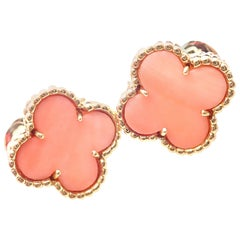 Van Cleef & Arpels Vintage Alhambra Yellow Gold Angel Skin Coral Earrings