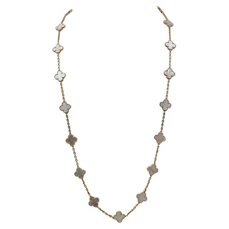 Van Cleef & Arpels Vintage Alhambra Yellow Gold Mother of Pearl Necklace