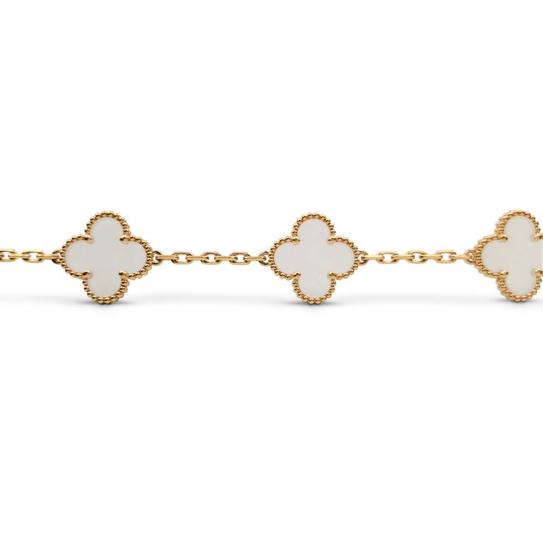 Van Cleef & Arpels 'Vintage Alhambra' Yellow Gold Rock Crystal Bracelet In Excellent Condition For Sale In New York, NY