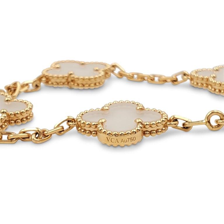 Women's Van Cleef & Arpels 'Vintage Alhambra' Yellow Gold Rock Crystal Bracelet For Sale