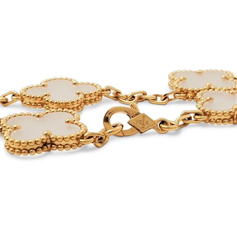 Van Cleef & Arpels 'Vintage Alhambra' Yellow Gold Rock Crystal Bracelet For Sale 1