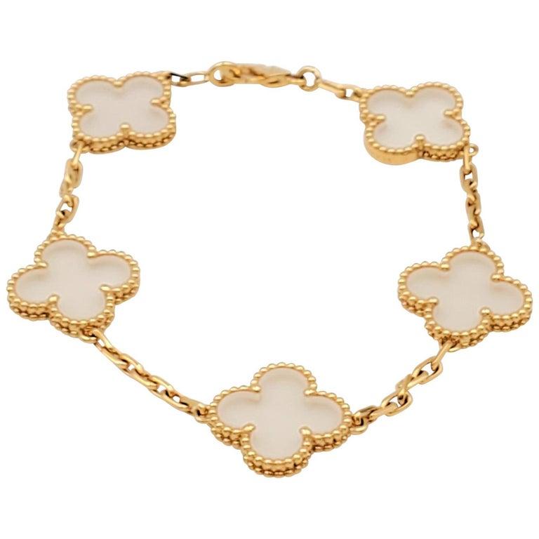 Van Cleef & Arpels 'Vintage Alhambra' Yellow Gold Rock Crystal Bracelet For Sale