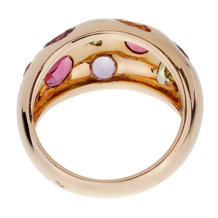 Van Cleef & Arpels Vintage Bombe Gemstone Gold Ring In Good Condition For Sale In Feasterville, PA