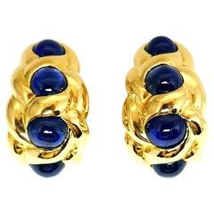 Van Cleef & Arpels Vintage Cabochon Sapphire Yellow Gold Earrings