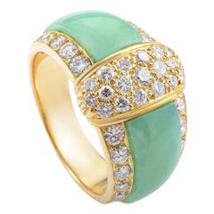 Van Cleef & Arpels Vintage Chrysophase Diamond 18 Karat Yellow Gold Band Ring