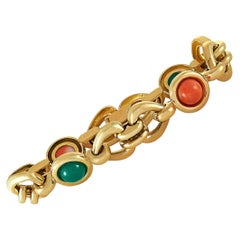 Van Cleef & Arpels Vintage Chrysoprase and Coral Yellow Gold Bracelet