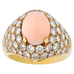 Van Cleef & Arpels Vintage Coral Diamond Ring