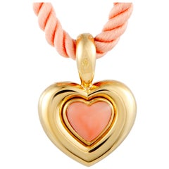 Van Cleef & Arpels Vintage Coral Yellow Gold Heart Pendant Cord Necklace